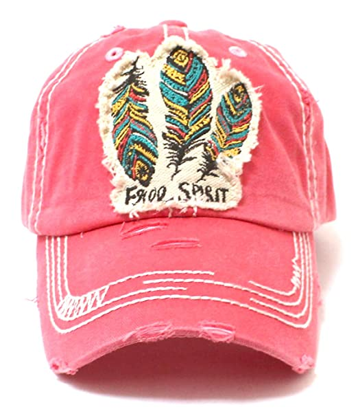 2c3c2834f2223 New! Coral Feather Free Spirit Patched Distressed Vintage Cap at ...