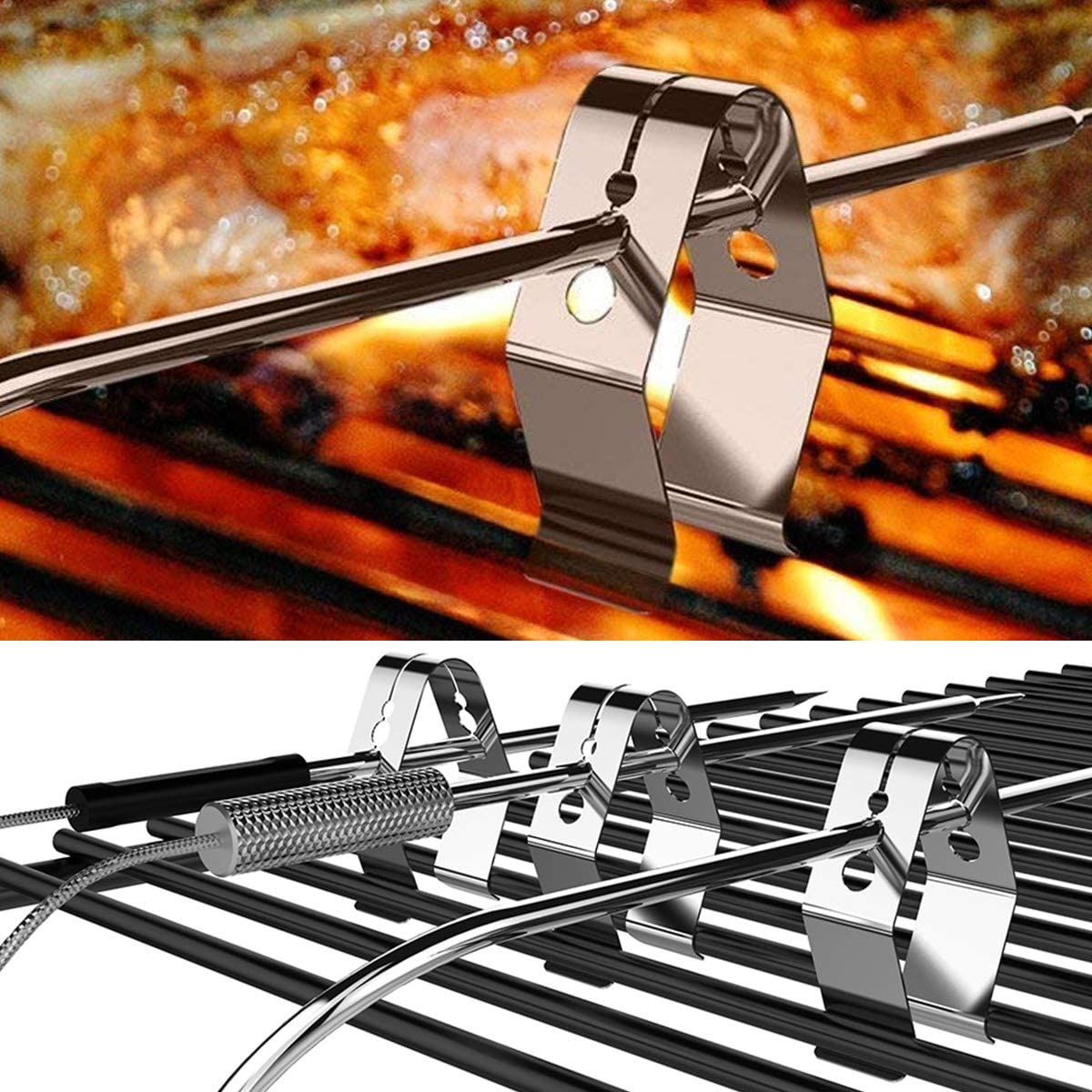 4 Pack Universal Meat Grill Thermometer Probe Clips Holders Brackets