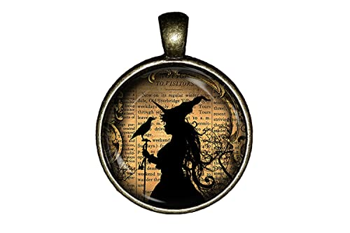 witch and raven necklace vintage halloween handmade jewelry gift pendant charm