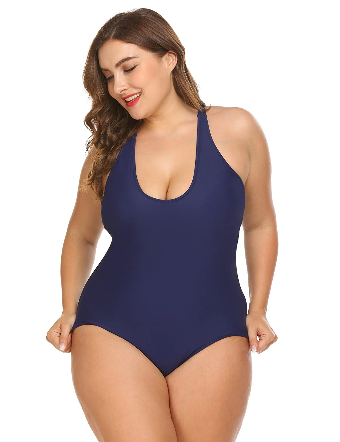 a79f439f93b4d Blenko Women s Plus Size Sexy Padded One Piece Swimsuit Cross Strap  Backless Solid Monokini Bathing Suit XL-5XL