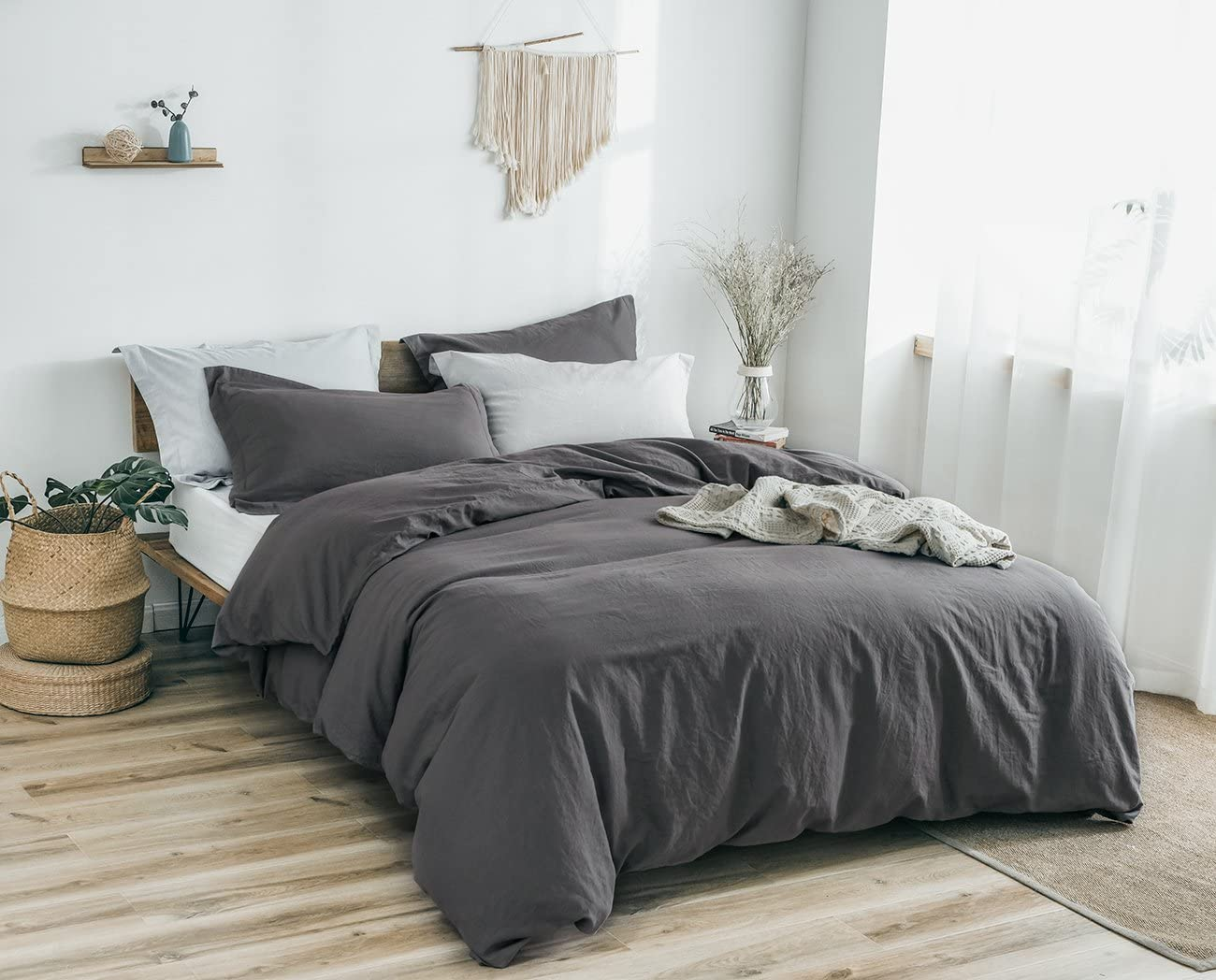 PHF Washed Linen Cotton Duvet Cover and 2 Pillowshams Luxury Soft Vintage Bedding Set for Winter King Size Charcoal 71Vx-HjmYYL