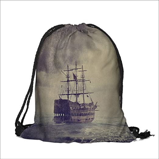 Print Drawstring Backpack old pirate ship in the sea fine art image with  golden and canvas 450a5b7135037