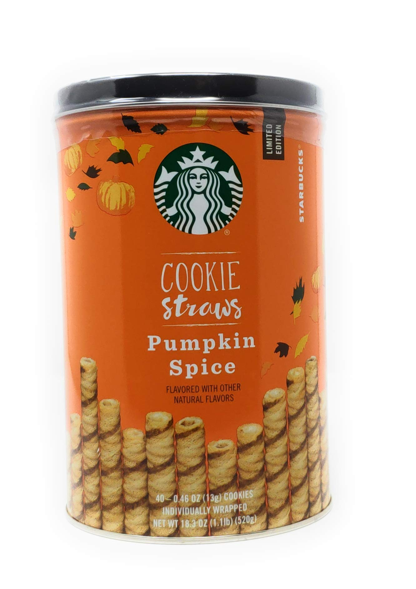 Starbucks Pumpkin Spice Cookie Straws, 40 Individually Wrapped Straw Cookie by Starbucks