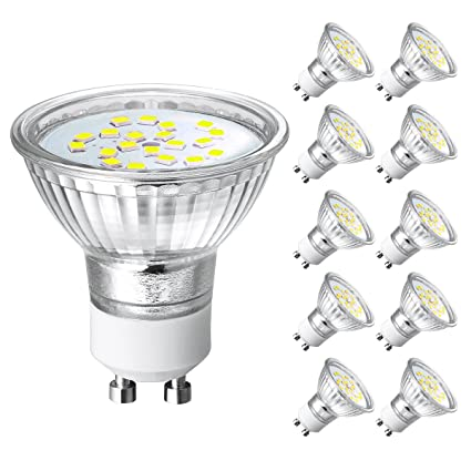 Bombillas LED GU10 4W,Equivalente a 35W Lámpara Incandescente,Blanco Frio,380LM,