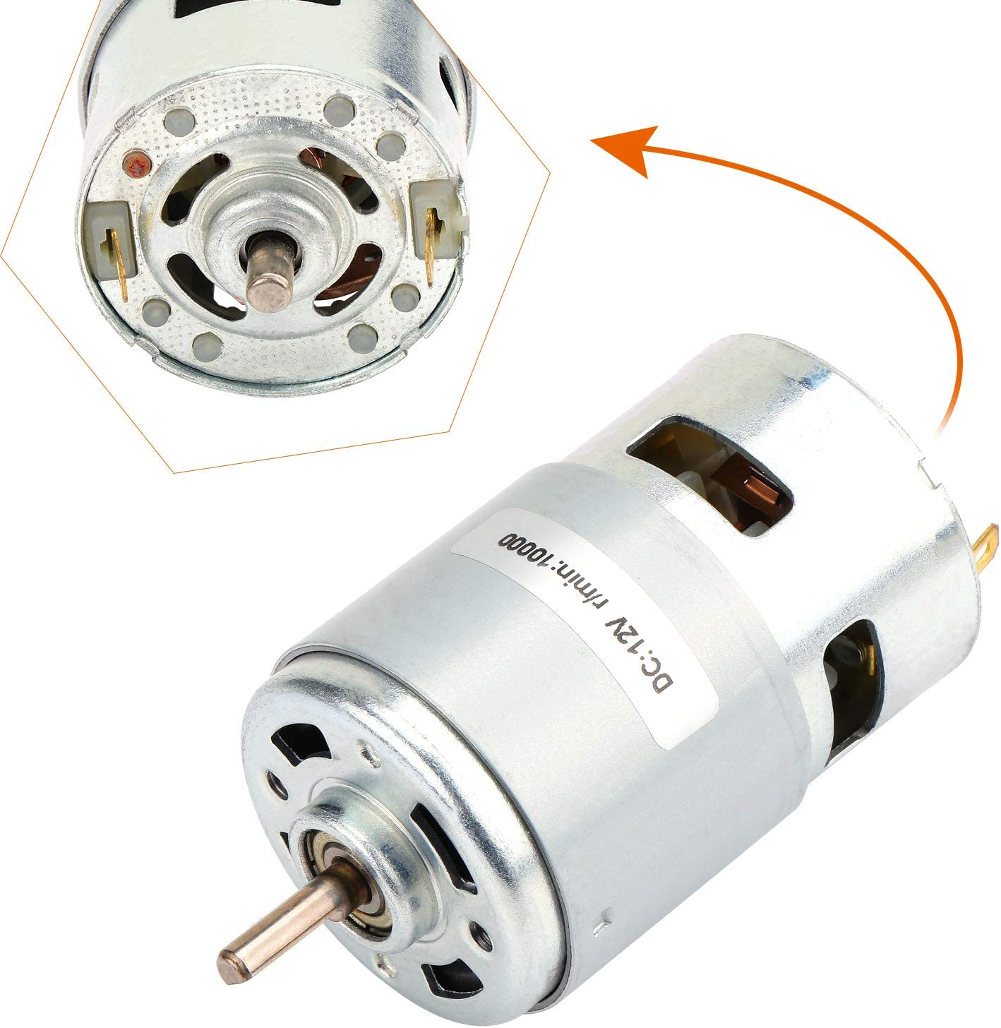 Double Ball Bearing Micro Electric Motor Low Noise High Speed Motor Coolty DC 12V 10000RPM Brush Motor