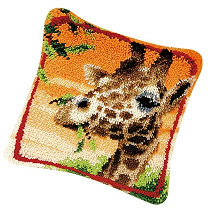 Giraffe Pattern Pillowcase Latch Hook Kit with Starter Kit for Kids Beginner