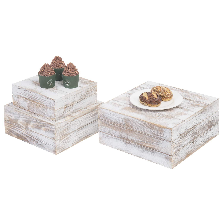 MyGift Shabby Whitewashed Wood Nesting Crate Display Risers, Set of 3