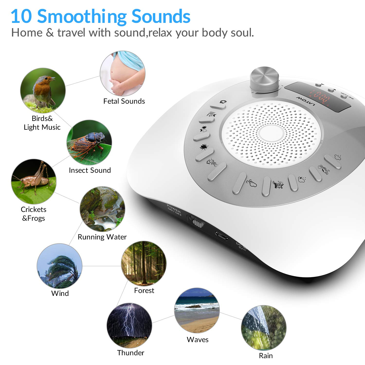 Amazon.com: White Noise Machine, LATOW Womb Sound White Noise Machine for Baby Sleeping, Portable Sleep Therapy 10 Non-Looping Sounds for Baby Home Office ...