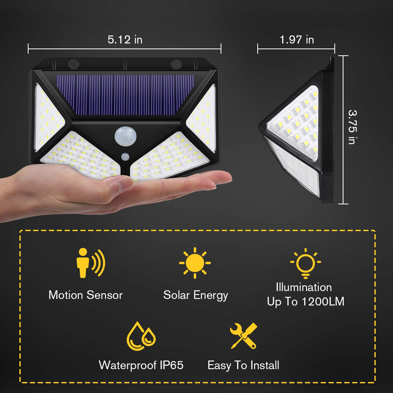 Bl Wide Angle Outdoor Solar Light Wireless Solar Powered Security Wall Light for Front Door 100 LED Super Bright Porch and More Garage Pathway Motion Sensor Light with 3 Working Modes Backyard