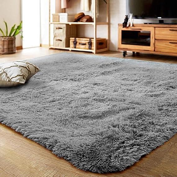 Schafsfell Dekofell Kunstfell Fellimitat Teppich Bettvorleger Grau B60xL90cm