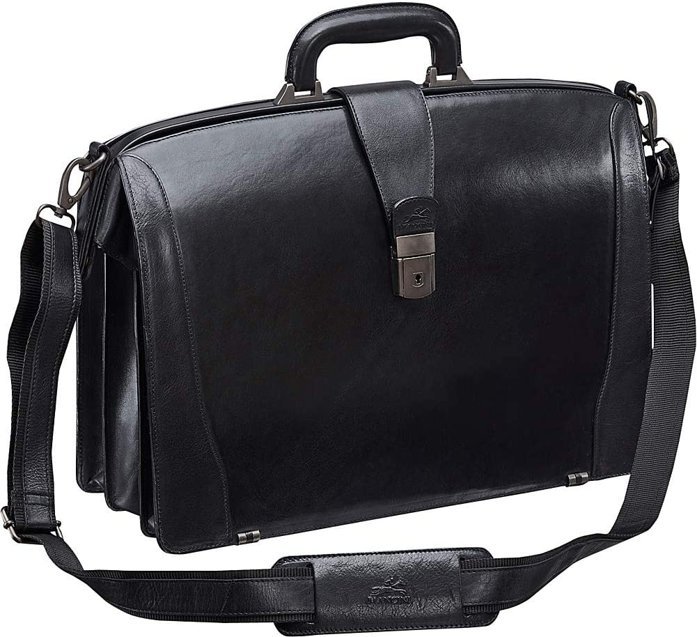 Mancini Leather Goods Vanizia Laptop Litigator Briefcase with RFID (Black)