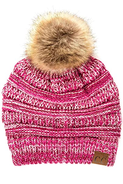 41f54d0109c9a6 ScarvesMe CC Soft Stretch Cable Knit Ribbed Faux Fur Pom Pom Beanie Hat (1)