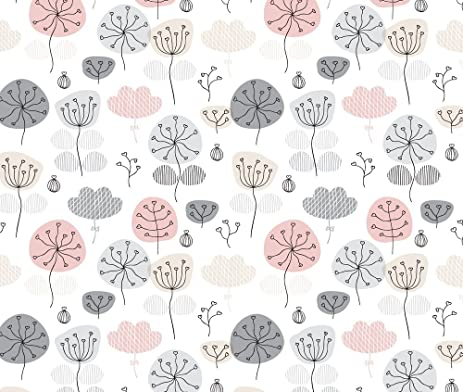 Amazon Flower Fabric Pastel Pink And Gray Poppy Flower Garden