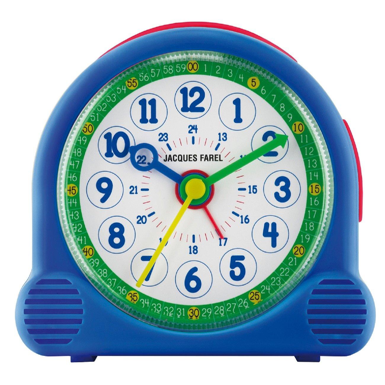 Jacques Farel Happy Learning bambini sveglia ragazzo blu senza ticchettio Snooze analogico al quarzo ACL 04