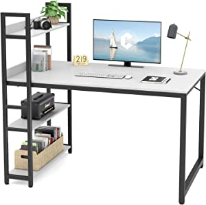 Cubicubi Computer Desk 47 inch with Storage Shelves Study Writing Table for Home Office,Modern Simple Style,White