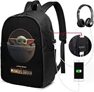 QWEQWE Star Wars The Mandalorian The Child Baby Yoda Business Travel Laptop Backpack Work School University College School Bag Backpack with USB Charging Port and Headphone Jack One Size