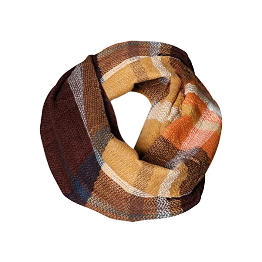 Golden Brown Plaid Tartan Infinity Scarf Funky Monkey Fashion Warm Cozy Scarves by Funky Monkey Fashion