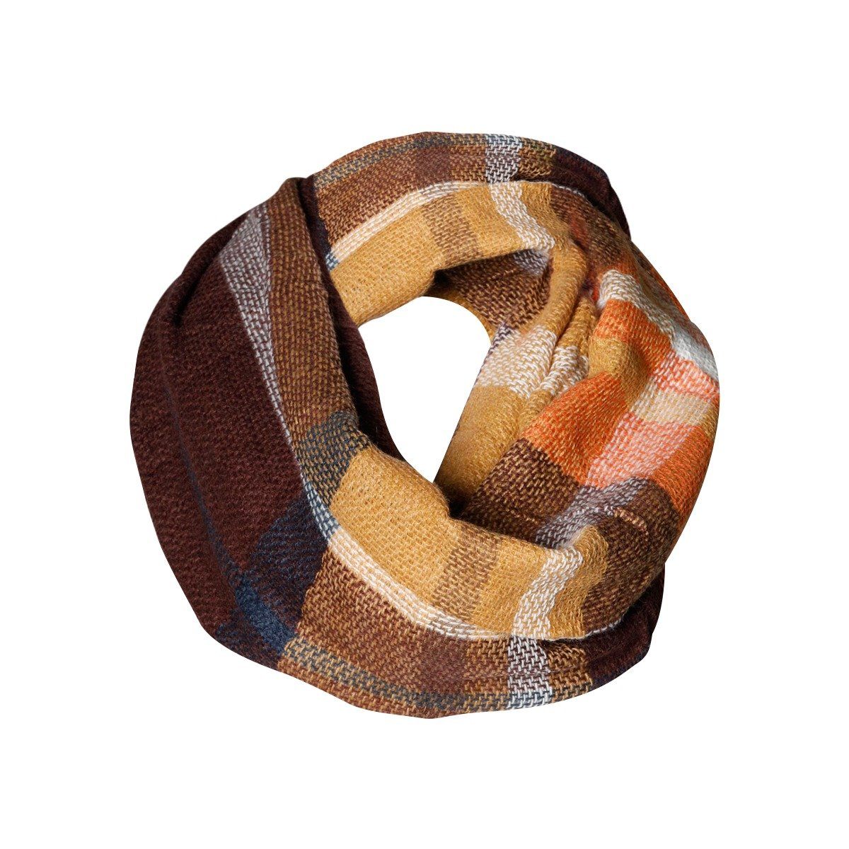 Golden Brown Plaid Tartan Infinity Scarf Funky Monkey Fashion Warm Cozy Scarves