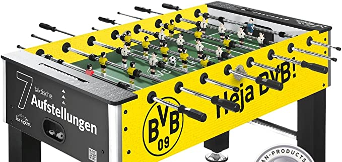 liveki Redecker – Futbolín Borussia Dortmund, 7 ranuras de aufstellungen Sistema Profesional de mesa de futbolín Fútbol Altura Regulable Peso: 50 kg 2,8 cm Cuerpo 15 ...
