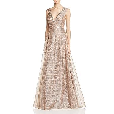 Aidan Mattox Womens Metallic Organza Jeweled Formal Dress At Amazon