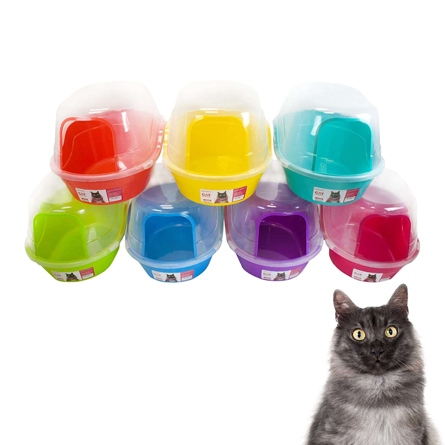 Petphabet Litter Box with Lid - Jumbo Hooded Kitty Litter Pan - Holds Up to Two Small Cats Simultaneously, Extra Large