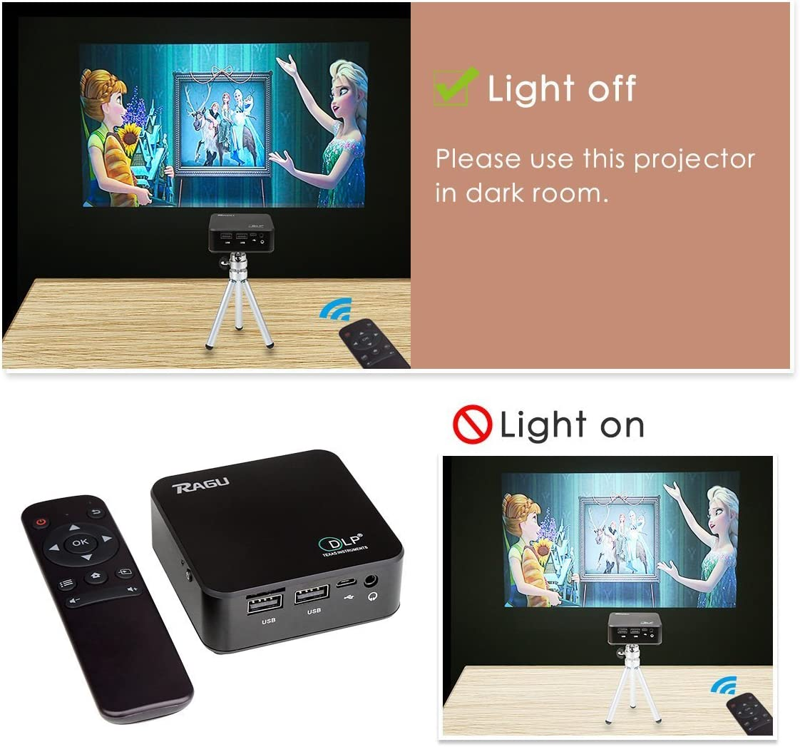 DLP Proyector, Ragu E05 Full HD 1080P WIFI Proyector DLP Android ...