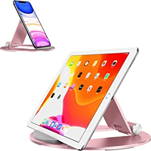 OMOTON Tablet Stand Adjustable, Desktop Aluminum iPad Stand with Anti-Slip Base, Portable Holder Dock (Rose Gold)