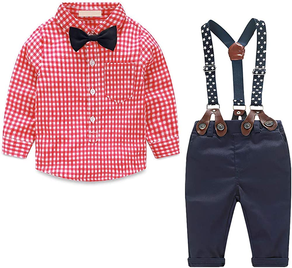 Suspenders Pants Gentleman Suits Autumn Boys Clothes Sets Toddler Boy Outfits Bow Ties Shirts