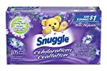 Snuggle Exhilarations Fabric Softener Dryer Sheets, White Lavender and Sandalwood, 105-Count