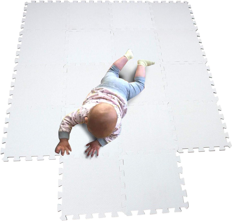 MQIAOHAM Esterilla Puzzle de Fitness-18 losas de EVA Espuma Alfombrilla Protectora Protección para el Suelo para máquinas de Deporte y gimnasios sobre el Piso Fácil de Limpiar Blanco 101