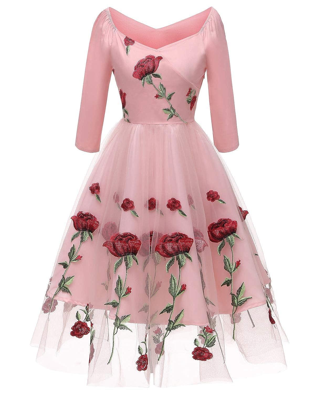 2a6c1a1ecfb65 Molly Moda Vestito Midi da Cerimonia in Tulle Ricamato Rose con Scollo  Bardot  Amazon.it  Abbigliamento