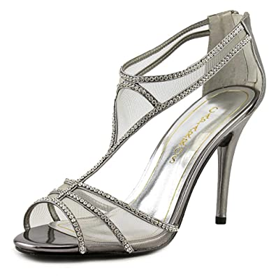 Caparros Womens Bluebell Open Toe Ankle Strap Classic Pewter metallic Size 8.0