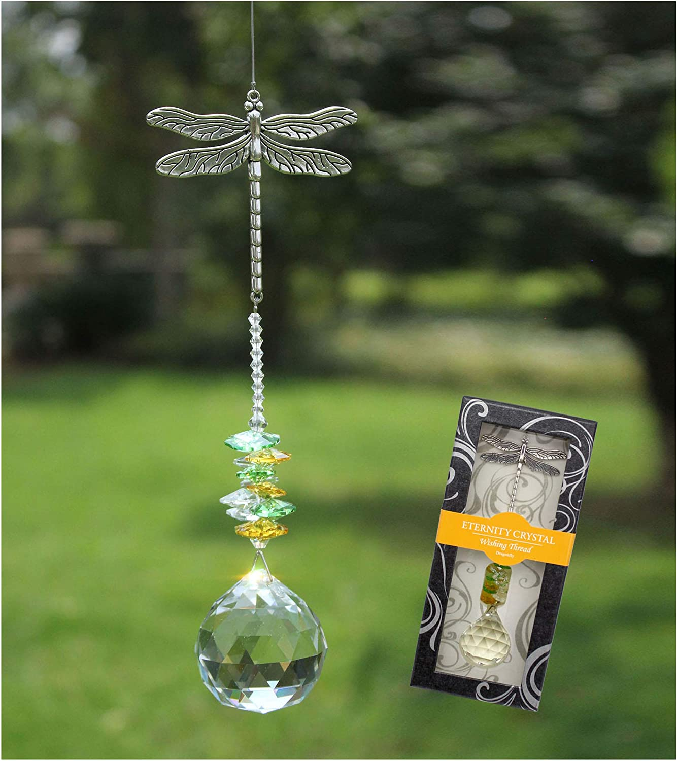 Crystal Garden Suncatcher Hanging Crystals Ornament for Window Rainbow Maker Prisms Home Decor Gift Boxed Sun Catcher Gift Idea for Mom Friends Grandma, Dragonfly