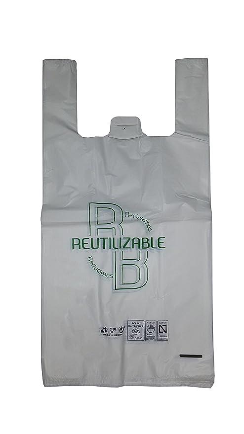 YMBERSA Bolsa camiseta reutilizable/desechable Grande (49 x 60 cm) para Comercio/Tiendas. Plástico 100% Alimentario Blanco. Paquete 100 Ud