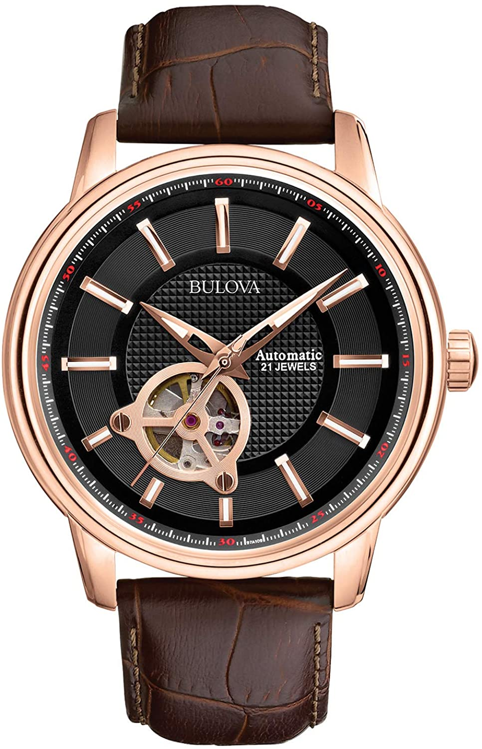 Bulova Men s Classic 45mm Automatic Leather Strap Watch