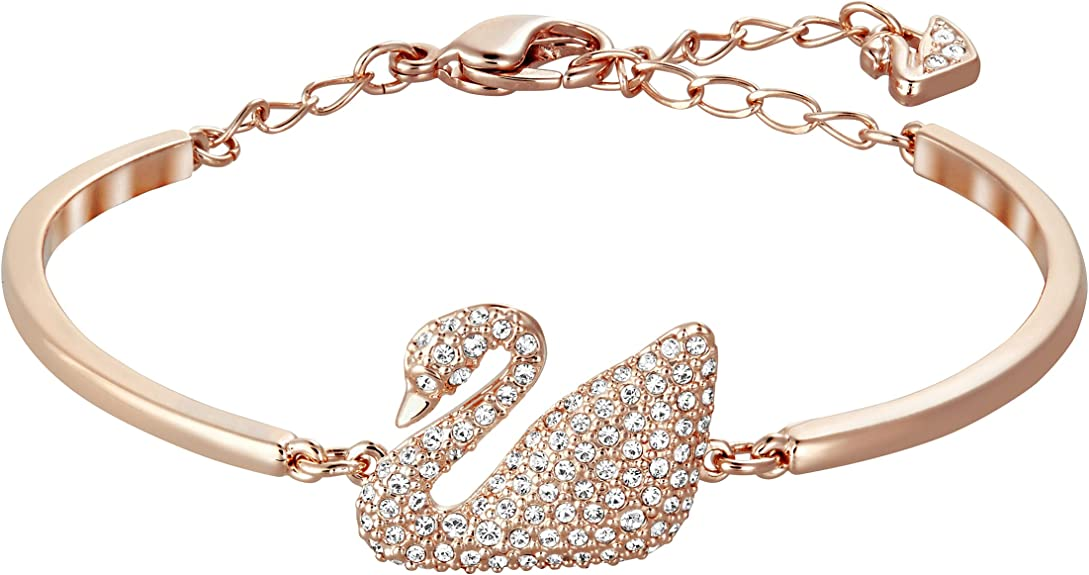 Swarovski Bracciale rigido Swan, bianco, placcato oro rosa