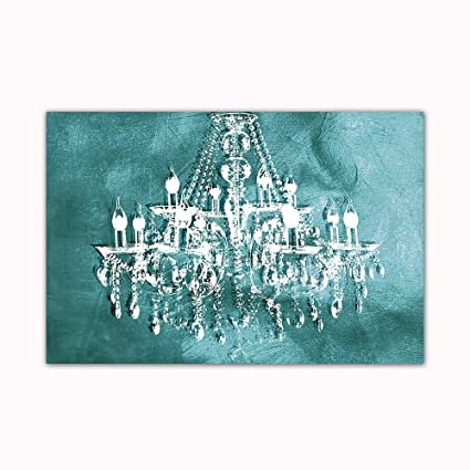 Amazon teal chandelier wall decoration digital art image teal chandelier wall decoration digital art image printed on 24quotx36quot canvas stretched and aloadofball Gallery