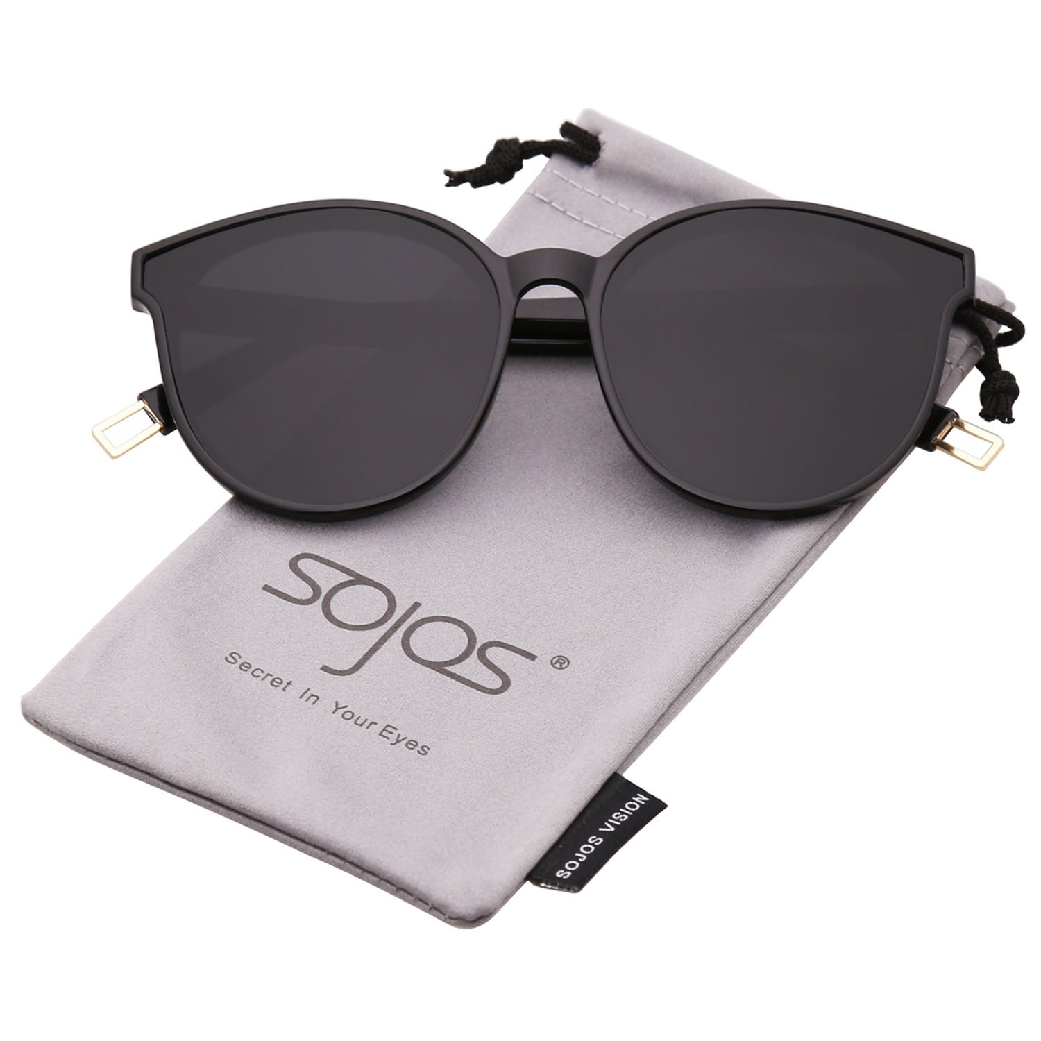 e3d4afb0cb04 SOJOS Fashion Round Sunglasses for Women Men Oversized Vintage Shades  SJ2057 with Black Frame Grey Lens at Amazon Women s Clothing store