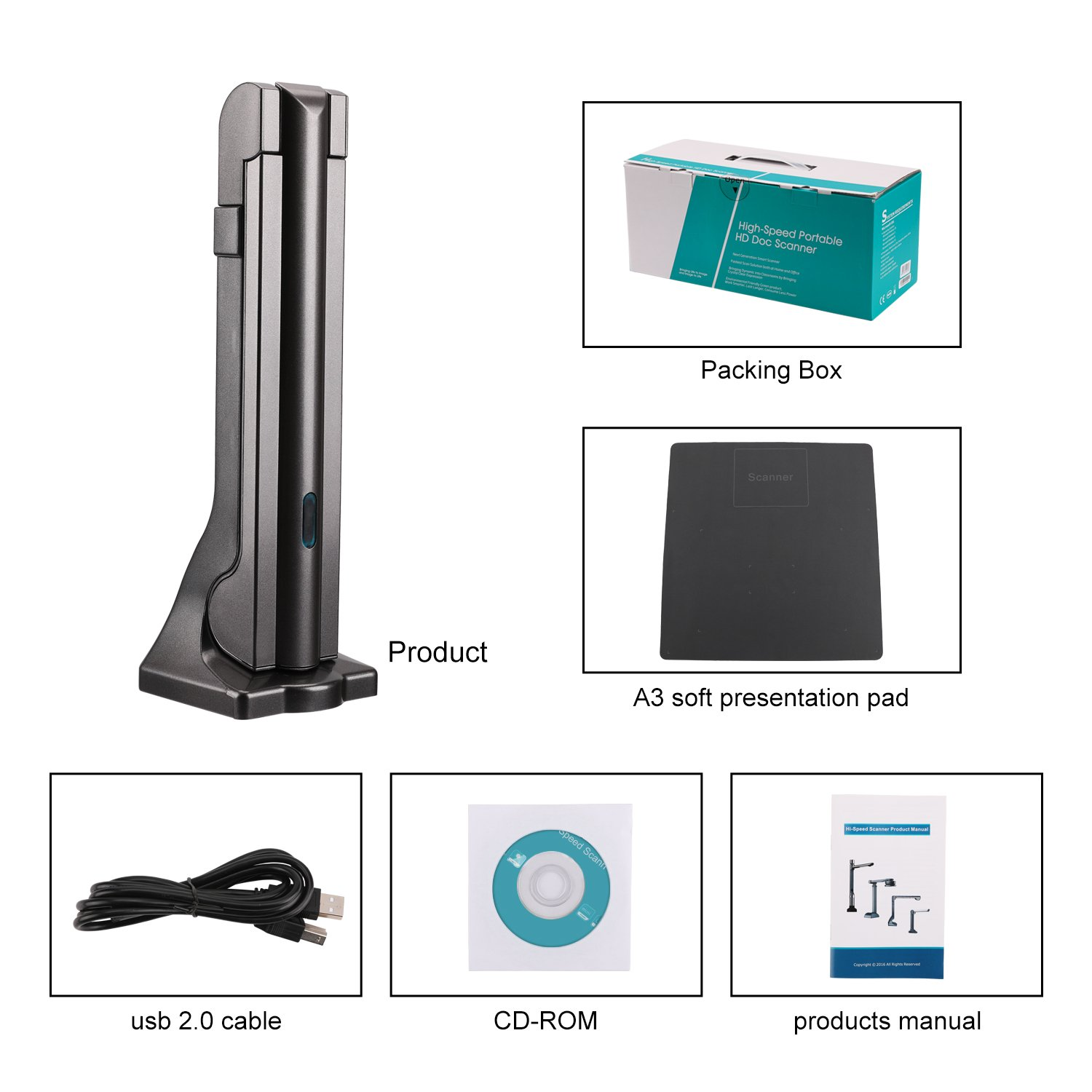 eloam Portable USB Document Camera Scanner S600 with,A3 Capture Size,5 MegaPixel CMOS, High-Definition Digital Visual Presenter by eloam (Image #7)