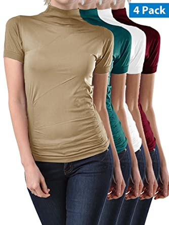2189ffd1652 Kuda Moda 4 Pack Stretch Short Sleeve Mock Neck Turtleneck Blouse Top Shirt  (Beige/