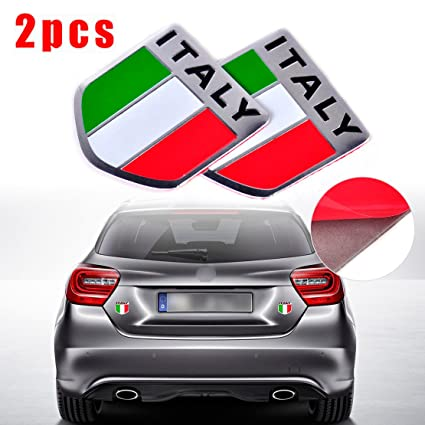 41376f92e98d Amazon.com  CHAMPLED New ITA Italy Flag Aluminum Sticker Auto Car 3D ...
