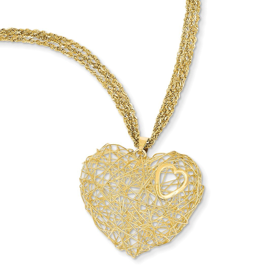 ICE CARATS 14k Yellow Gold Adjustable Triple Strand Heart Chain Necklace S/love Fine Jewelry Ideal Mothers Day Gifts For Mom Women Gift Set From Heart