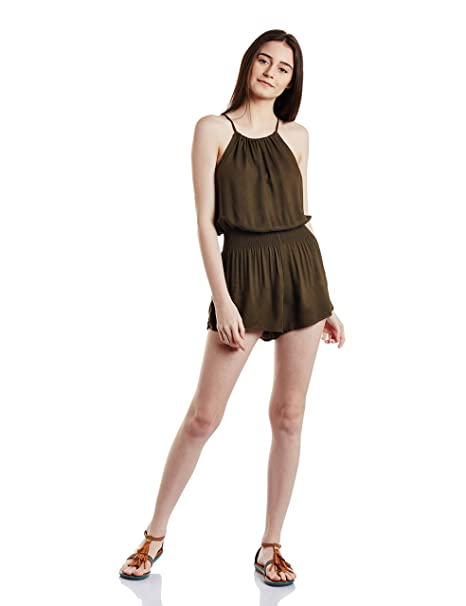 87d875a361ee Forever 21 Women s Cotton Jumpsuit (00193990052 0019399005 OLIVE 2 S ...