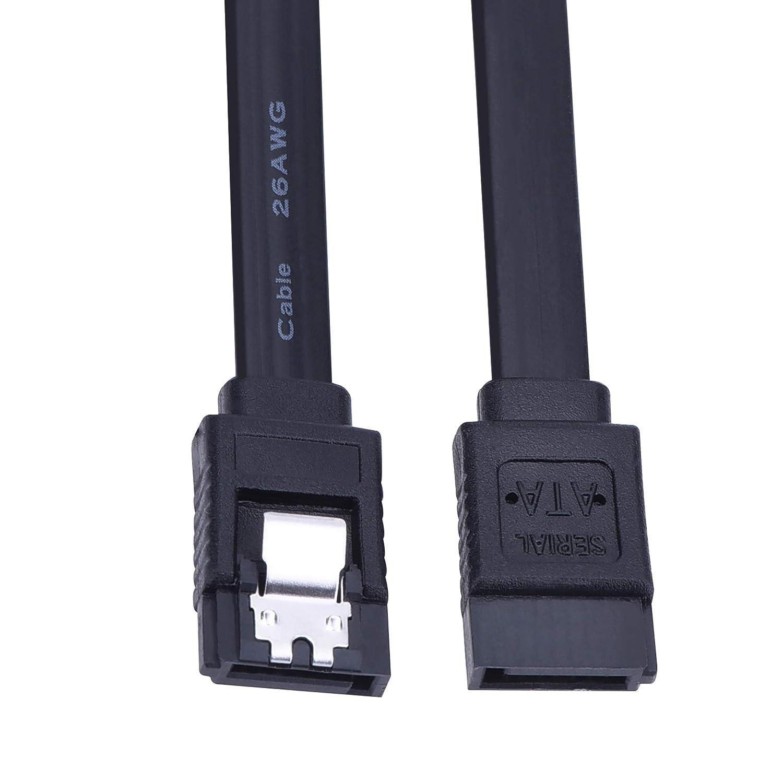 Cable SATA III 6.0 Gbps Recto Negro 18 Pulgadas 6 Paquetes