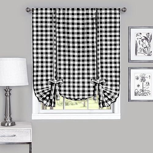 Woven Trends Farmhouse Curtains Kitchen D cor, Buffalo Plaid Valance, Classic Country Plaid Gingham Checkered Design, Farmhouse D cor, Window Curtain Treatments Black, Tie-Up Shade