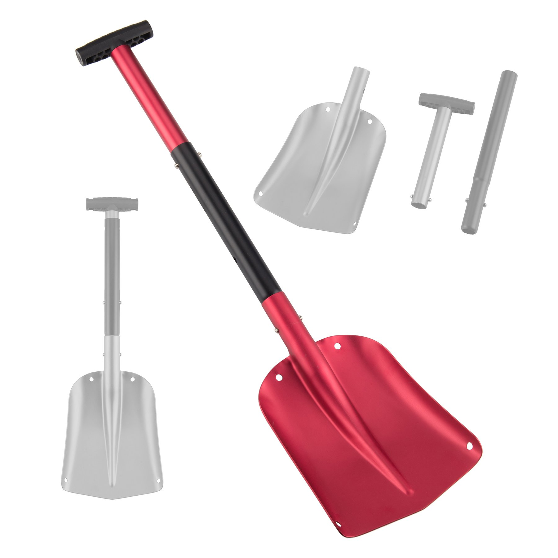Pinty 26'' - 32'' Aluminum Lightweight Utility Shovel Adjustable and Collapsible Winter Snow Shovels for Car Camping Garden (Red)