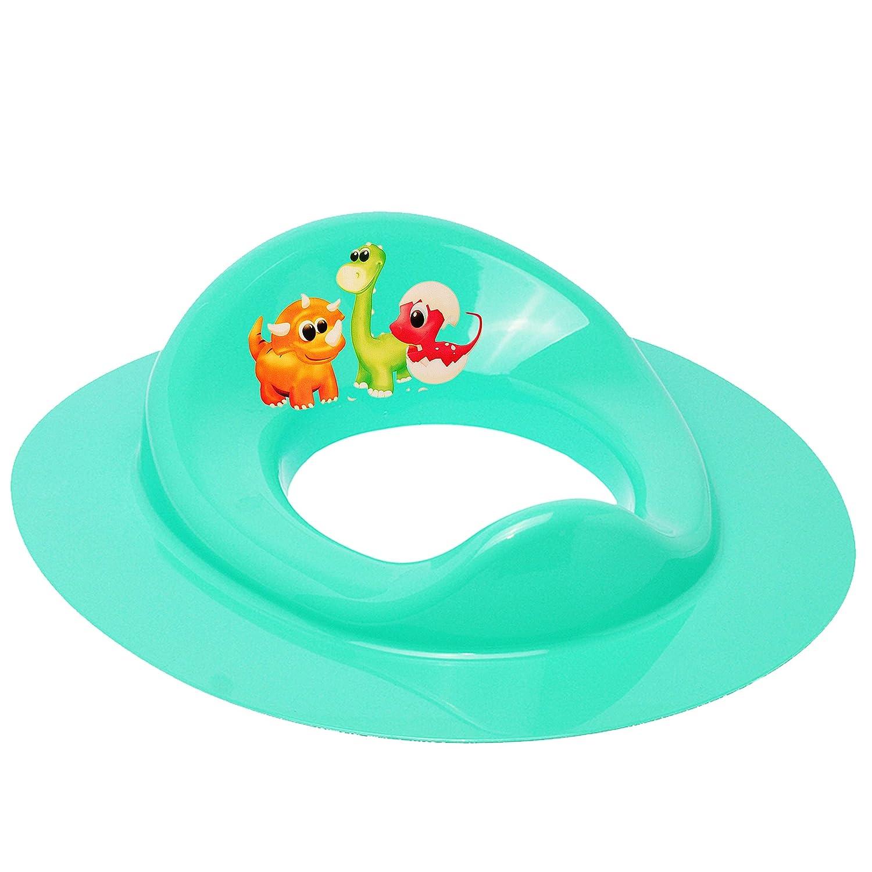 alles-meine.de GmbH Toilettensitz // Toilettenaufsatz // Sitzverkleinerer Dino /_ inkl t/ürkis Standardgr/ö/ße mit Lehne /& Pulle.. Mint /_ Tiere Bieco Name blau Dinosaurier