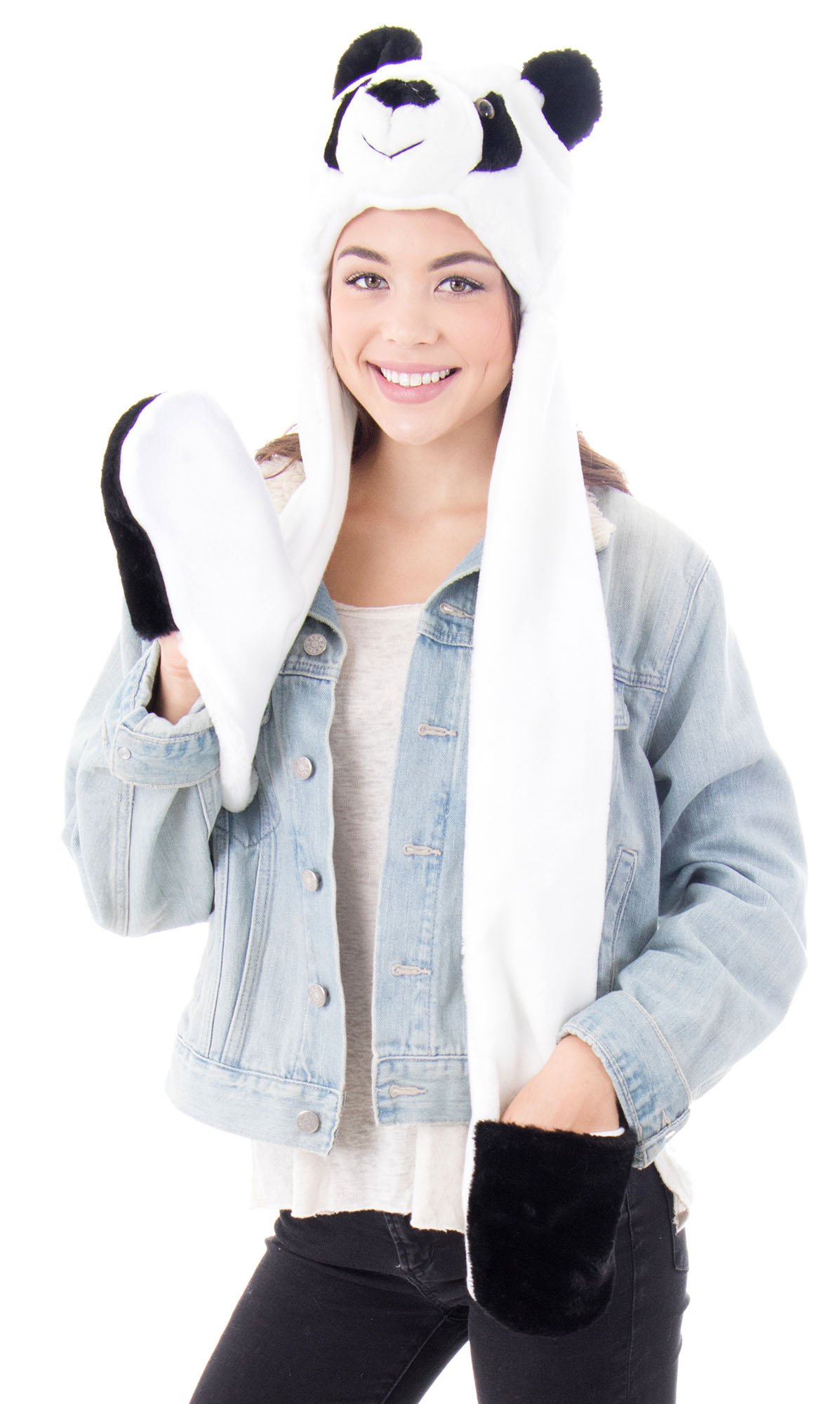 394066f7177 Simplicity Panda Animal Hats with Long Scarf 3 in 1 Multifunction Warm Hats