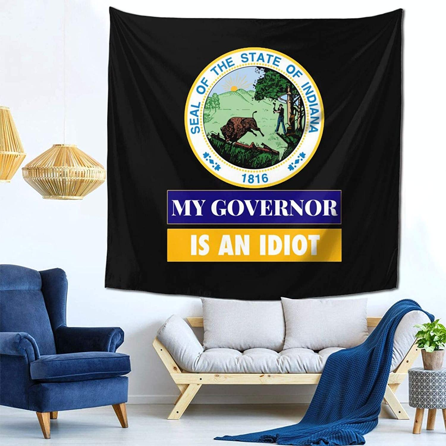 Winbri My Governor is an Indiana Idaho Tapestry Wall Hanging Home Decor Fan Art for Bedroom Living Room Dorm 59x59 Inch