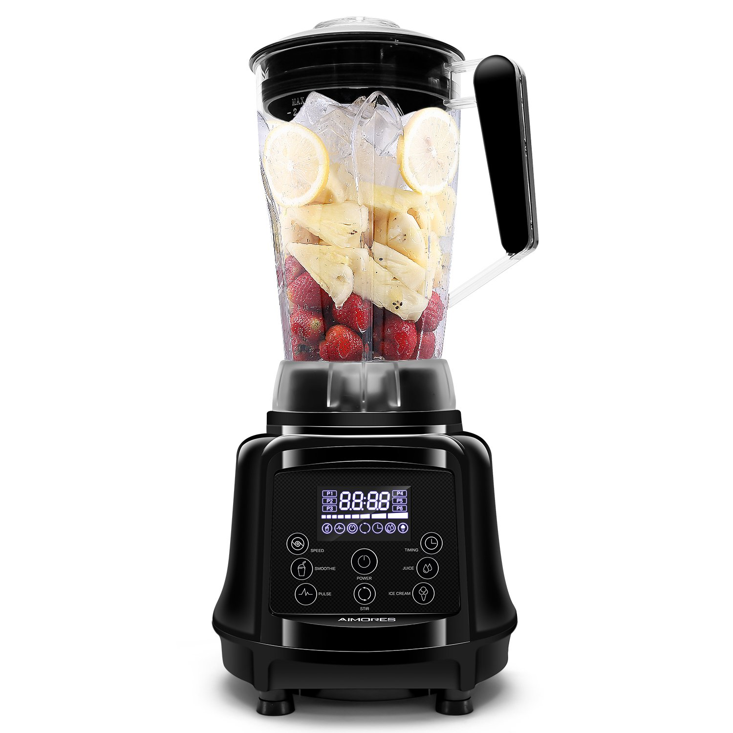 AIMORES Blender for Smoothies Heavy Duty, 75oz 3 in 1 Programmed Commercial High Speed Juice Blender(28,000RPM), Powerful Blender, Auto Clean & Timing, 6 Blades, ETL/FDA Approved - (Black)